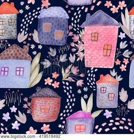 Cute Watercolor Houses And Flowers Seamless Pattern. Tender Kids Textile And Wrapping Paper Design.