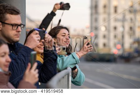 April 30, 2021 Moscow, Russia. The Audience On Tverskaya Street In Moscow During The Rehearsal Of Th