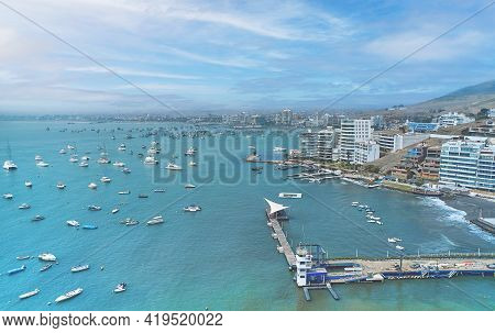 Aerial View Of The Bay, Marina And Buildings Of Ancon - Lima, Peru; Summer Area, The Beach And Some