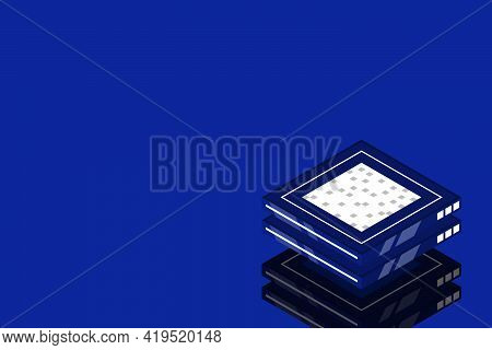 Set Of Server Room Icons, Data Center And Database, Futuristic Data Processing