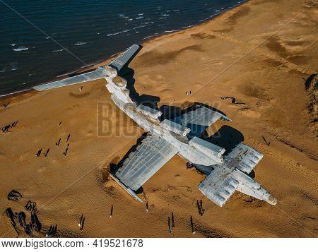 Abandoned Soviet Lun-class Ekranoplan On The Coast Of The Caspian Sea