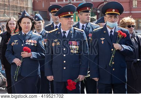 May 5, 2021, Russia, Moscow. Rehearsal Of Congratulations To Veterans On The Holiday Of Victory.