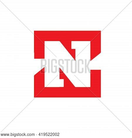 Zn Or Nz Monogram Logo. Vector Symbol Concept In Negative Space. This Is Bold And Strong In Visual.