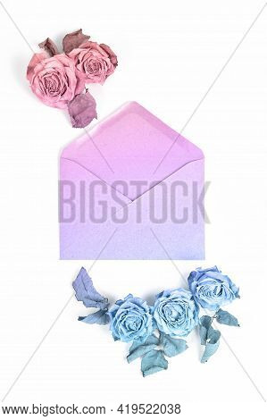 Wedding Floral Concept. Beautiful Composition Of Dried Rose And Envelope. Flowers Toned In Pastel Ra