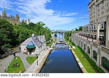 Locks Of The Rideau Canal Near Parliament Hill, Ottawa, Ontario, Canada