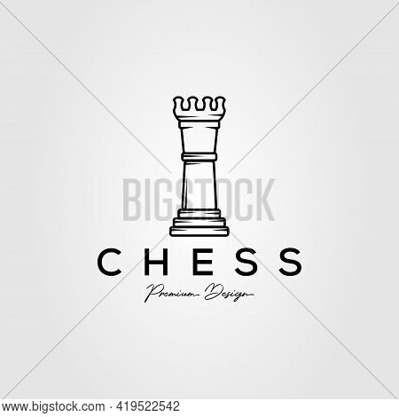 Chess Game Minimalist Line Art Logo Template Vector Illustration Design. Simple Classic Rooks, Bisho