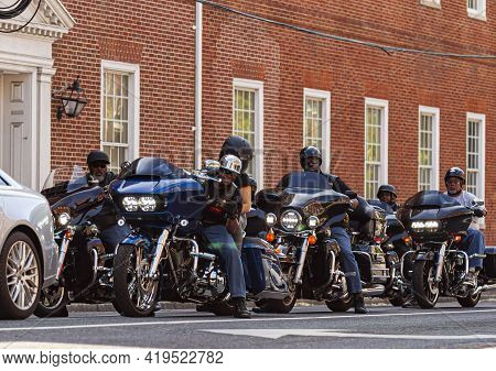 Annapolis, Md, Usa 05-02-2021: A Motorcycle Club Touring Event In Annapolis. Members Of The Club Are