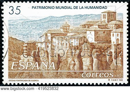 Spain - Circa 1998: A Stamp Printed In The Spain Shows The Fortified City Of Cuenca, Declared A Worl