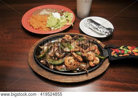 Authentic And Traditional Mexican Cuisine Known As Shrimp Steak And C Hicken Fajitas