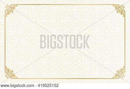 Islamic Rectangle Gold Frame Geometric Pattern Ornament With Isolated Background For Greeting Cards