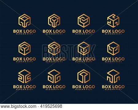 Abstract Premium Business Cube Logo Vector Collection. Minimalist Box Logo With Line Style.