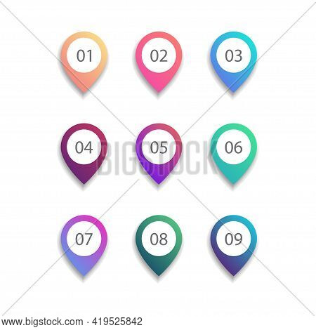 Pinpoint Bullet Point Set On White Background. Colorful Gradient Markers With Number From 1 To 9 For