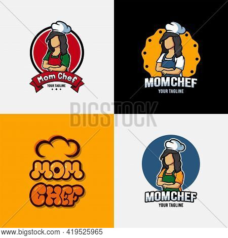 Mom Chef Cartoon Character Logo Collection. Chef Logo Mascot With Bubble Lettering Illustration.