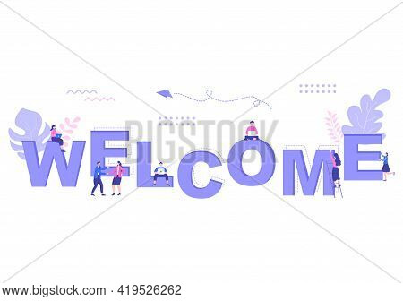 Welcome Vector Illustration For The Opening Of Web Page, Banner, Presentation, Social Media, Documen