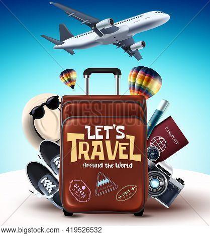 Let's Travel Around The World Vector Design. Let's Travel Around The World Text With Luggage, Sneake