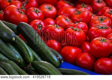 Tomatoes And Cucumbers Background. Fresh Tomatoes And Cucumbers  Variety Grown In The Shop. Vegetabl