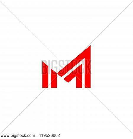 Letter M Stripes Arrow Symbol Geometric Logo Vector