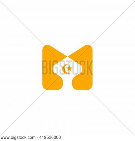 Letter M Mosque Moon Star Simple Icon Symbol Vector