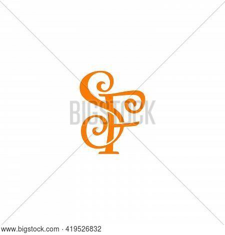 Letter Sf 3d Flat Ribbon Simple Logo Vector