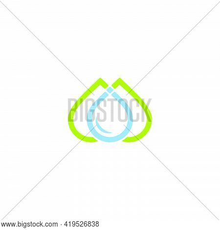 Letter M Green Mountain Water Source Symbol Vector
