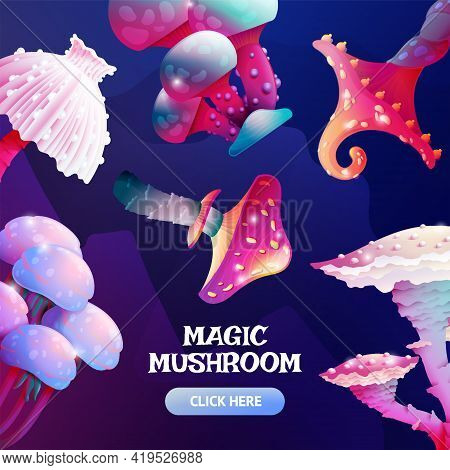 Colorful Fantasy Alien Mushroom Banner Template With Button. Cartoon Fungus And Unrealistic Uneartly