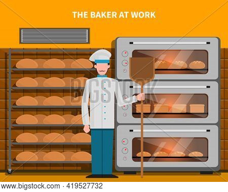 Baker At Work Concept With Bread Oven Flat Vector Illustration