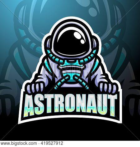 Vector Illustration Of Astronaut Esport Logo Mascot Design