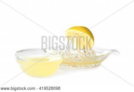 Freshly Squeezed Lemon Juice On White Background