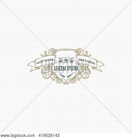 Victorian Floral Ribbon Shield With Hummingbird Logo And Frame Template