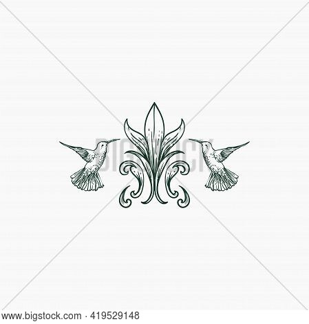 Two Hummingbird Fly Around Floral Leave Illustration Vector Design