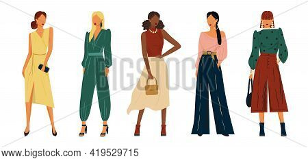 Fashion Models In Design Clothes Vector Hand Drawn Illustration. Woman In Stylish Dress Set Of Chara