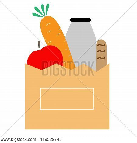 Bag Of Groceries Icon On White Background. Grocery In A Paper Bag. Groceries Sign. Flat Style.