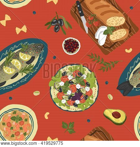 Top View Table With Mediterranean Food Seamless Pattern. Vector Hand Drawn Illustration. Healthy Foo