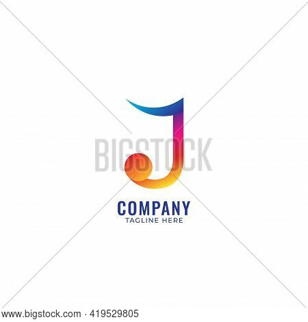 Colorful Letter J Alphabet Music Logo Design. Initial, Musical Note, Quaver, Eighth Notes Logo Conce