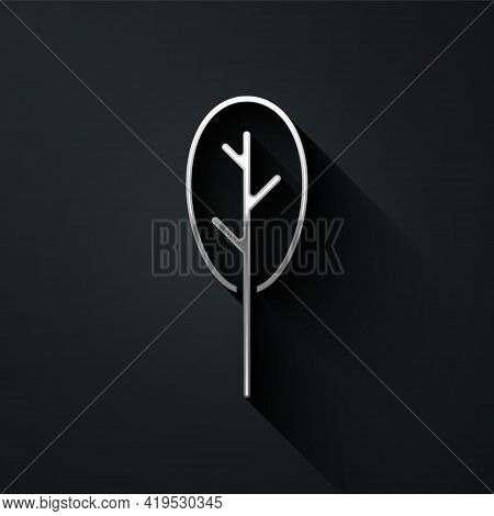Silver Spinach Icon Isolated On Black Background. Long Shadow Style. Vector