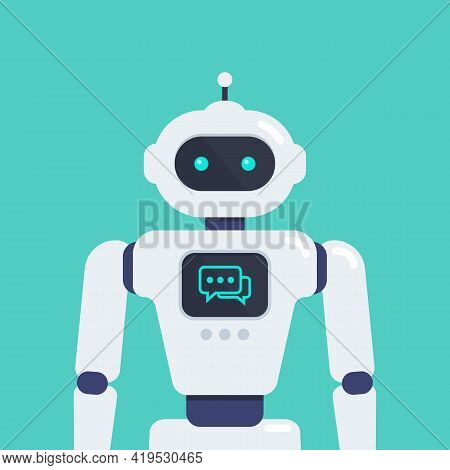 Android Robot Vector Illustration. Cyborg Technology. Graphic Design