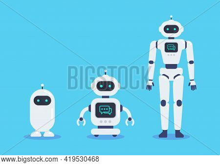 Android Robots Set Cyborg Technology And Futuristic Intelligence Machine. Graphic Design In Flat Sty