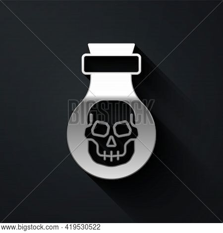 Silver Poison In Bottle Icon Isolated On Black Background. Bottle Of Poison Or Poisonous Chemical To