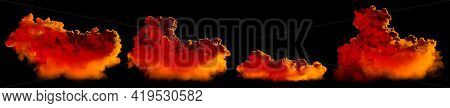 Various Sundown Huge Clouds Isolated - Cg Nature 3d Illustration