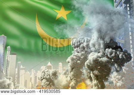 Big Smoke Column With Fire In The Modern City - Concept Of Industrial Accident Or Terrorist Act On M