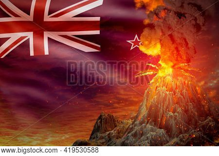 Stratovolcano Eruption At Night With Explosion On New Zealand Flag Background, Troubles Because Of E