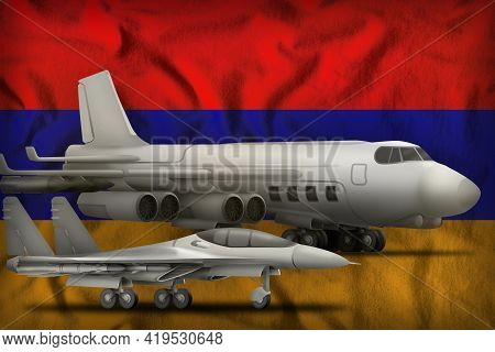 Air Forces On The Armenia Flag Background. Armenia Air Forces Concept. 3d Illustration