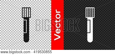 Black Test Tube And Flask Chemical Laboratory Test Icon Isolated On Transparent Background. Laborato