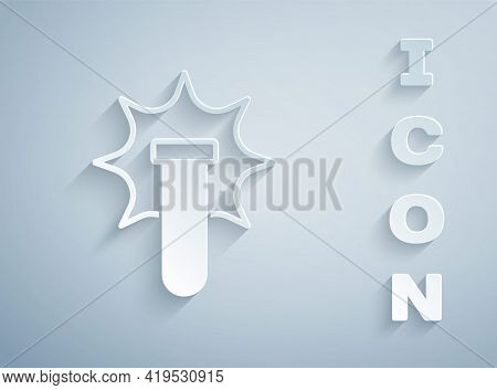 Paper Cut Chemical Experiment, Explosion In The Flask Icon Isolated On Grey Background. Chemical Exp