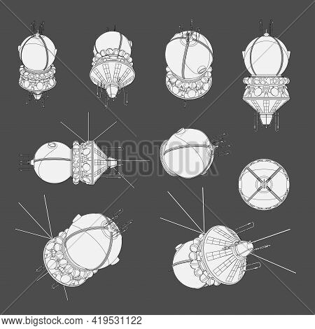 Vector Set With Round Spaceship Satellite. Collection With 3D Views Old Spaceship. Coloring Page Wit