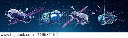 Set With Spaceships And Satellites In Space. Space History Program, Human Exploration Of Near Space.