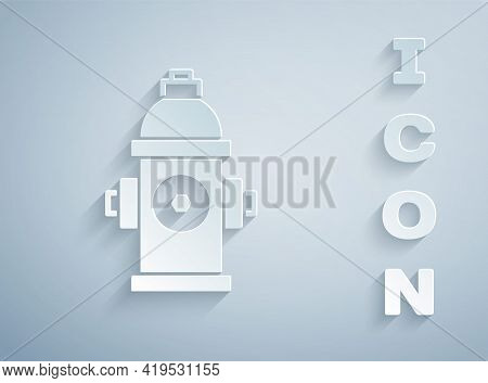 Paper Cut Fire Hydrant Icon Isolated On Grey Background. Paper Art Style. Vector