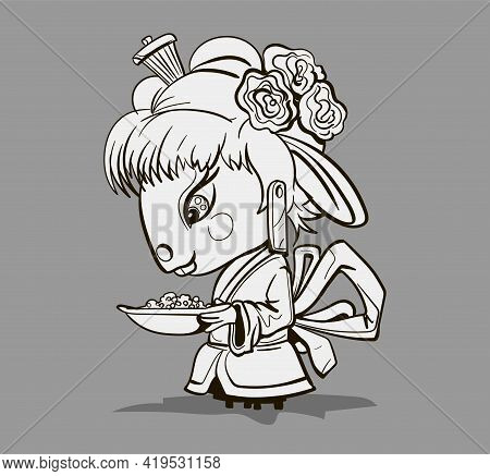 Chinese Zodiac Animal Cartoon. Coloring Page With Geisha Mouse Hand Drawn Character. Vector Design F