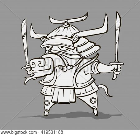 Chinese Zodiac Animal Cartoon. Coloring Page With Bull Hand Drawn Character. Vector Design For Your