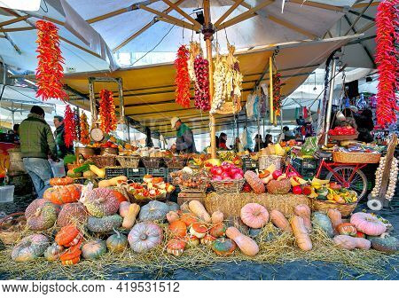 Rome, Italy - December 31, 2012: Display Of Colorful Vegetables, Herbs, And Fruits Market At Piazza